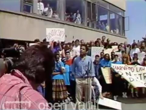 Harvard Law Student Barack Obama Defends Professor at Rally